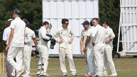 Potters Bar celebrate a wicket in the match between Letchworth and Potters Bar. Picture: DANNY LOO