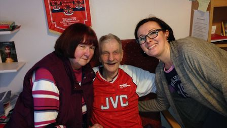 Peter with support workers Margaret Hill and Anna Cupkova