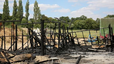 The remains of the burnt out stables on Kentish Lane, Brookmans Park. Picture: DANNY LOO