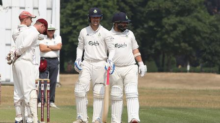 Welwyn Garden City's Louis Champion and Dan Blacktopp in the match between Harpenden and WGC. Pictur