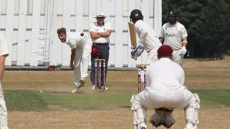 Harpenden's Andrew Neal bowls in the match between Harpenden and WGC. Picture: DANNY LOO