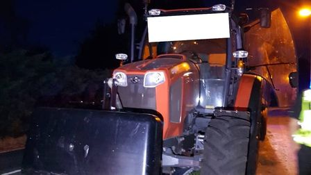The tractor was seized in Leverington Common at around 4am this morning. Picture: Twitter / @FenCops