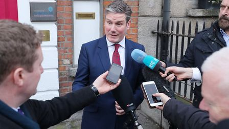 Shadow Brexit secretary Sir Keir Starmer speaking to the media. Photograph: Niall Carson/PA.