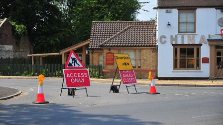 These 'road closed' signs in Elm near Wisbech are being blamed for the reason three cars collided on