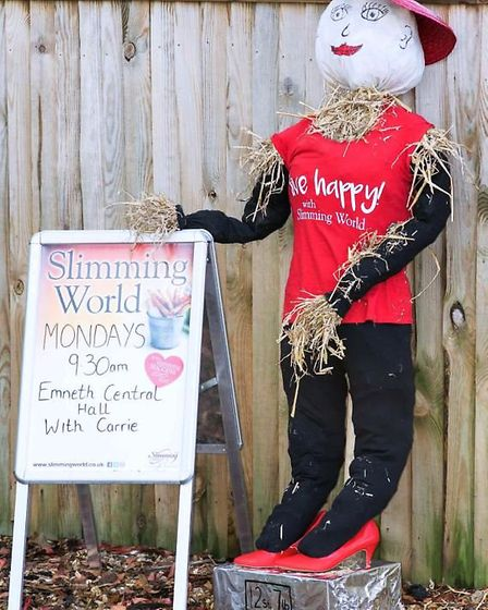 Emneth welcomed some unique characters to their scarecrow display. Slimming World scarecrow Sally. P