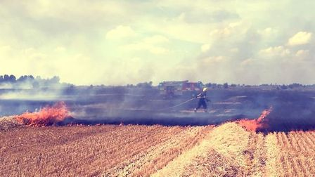 More than 35 firefighters from stations across the region tackled a large accidental field blaze in