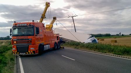 The A47 between Thorney and Guyhirn was partially blocked today due to an overturned lorry that ende