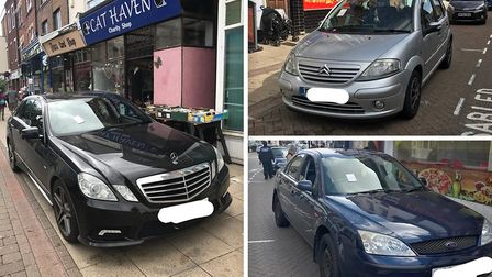 Owners of these illegally parked cars in Wisbech town centre have been issued tickets from PCSOs pat