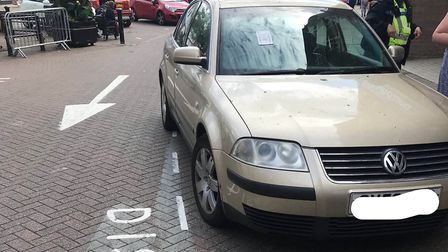 Owners of these illegally parked cars in Wisbech town centre have been issued tickets from PCSO's pa