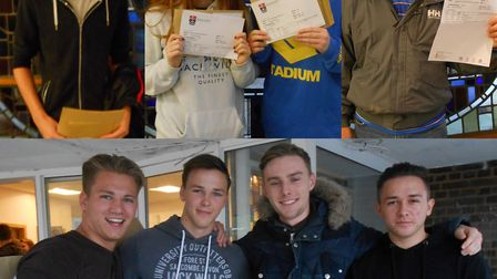 Mount Grace pupils celebrating their A-level results. Top (L-R) Caleb Rhodes, Katie Walsh, Alice Joh