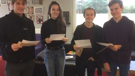 Stanborough pupils receiving their results. Picture: supplied by Stanborough School