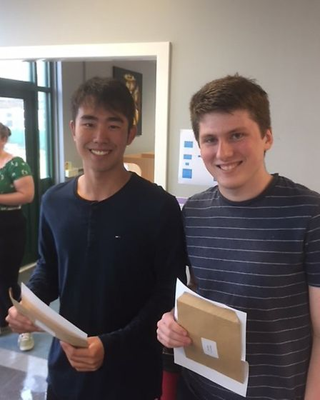Shogo Washio and James Byrne, who earned places at Cambridge. Picture: supplied by Stanborough Schoo