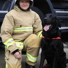 Nikki Harvey and Herts Fire and Rescue dog CC. Picture HCC.