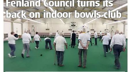 Front page of tomorrow's Wisbech Standard turning the spotlight on the bowls club controversy