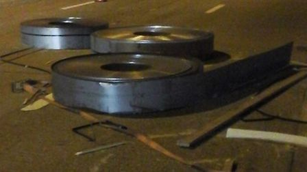 There are delays on the M25 affecting Potters Bar and St Albans after a load of steel came off of a