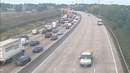 Traffic on the M25 near Potters Bar. Picture: Highways England.