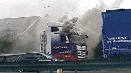 The lorry fire on Churchill Road in Wisbech this morning (September 11). Picture: EMMA GREEN