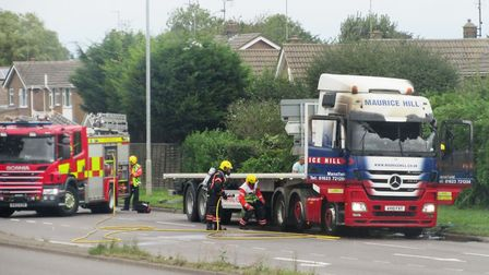 The lorry fire on Churchill Road in Wisbech this morning (September 11). Picture: JAMIE NEWBY
