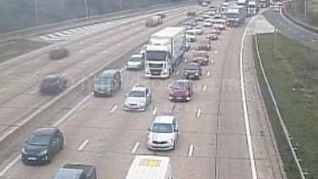 Traffic on the M25 near Potters Bar. Picture: www.motorwaycameras.co.uk