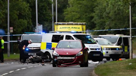 Police arrest one at the scene of an RTC that left motorcyclist dead.,