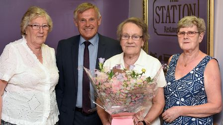 Presentation to June Clenshaw after fundraising for 70 years. Eileen White, Tony Twigger, June Clens