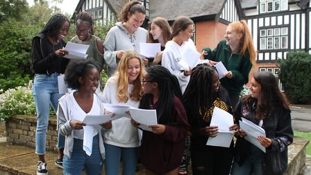 Girls at Queenswood receive their GCSE results. Picture: supplied by Queenswood School