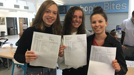 L-R: Hannah Brooks, Amy Ireland, and Ilina Georgieva with their stellar results. Picture: Mia Jankow