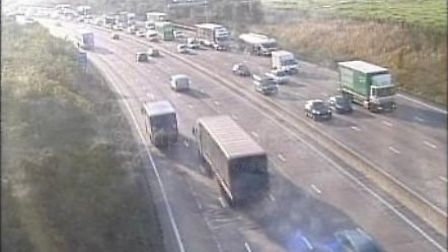 Traffic near Potters Bar on the M25. Picture: Highways England.