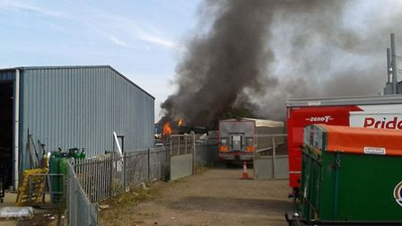 Fire at Taylors Reclaims Ltd at Weasenham Lane Industrial Estate in Wisbech. Picture: TONY PARISH