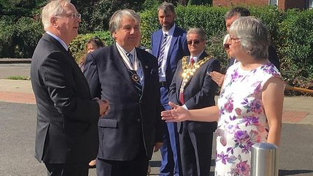 HRH The Duke of Gloucester arriving in Wisbech today; he began his tour at the Oasis community centr