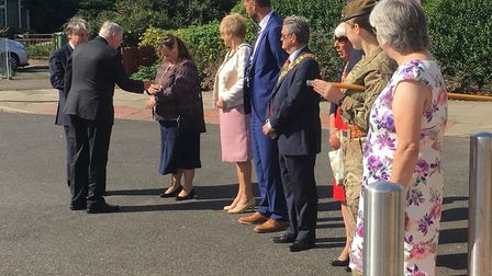 Civic dignitaries were on hand to meet HRH The Duke of Gloucester on his visit to Waterlees estate i