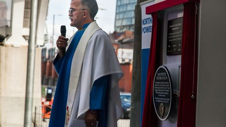 Chaplain Richard Cook at a dedication for soldiers fallen in the First World War. Picture: William J