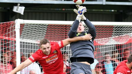 Action from Wisbech Town's clash with Frickley. Picture: IAN CARTER