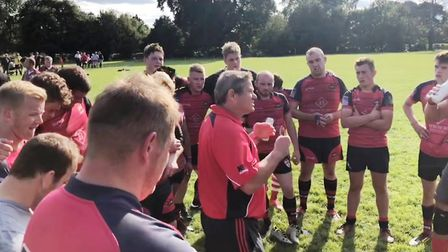 Director of Rugby Leonard Veenendaal addressing players at full time. Picture: SUBMITTED