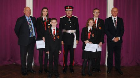 Lord Lieutenant of Hertfordshire visits The Ridgeway Academy. Right to left: Headteacher Jed Whelan,