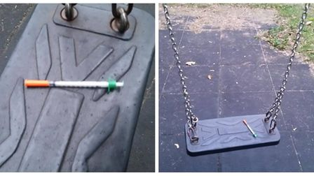 A photo showing a syringe left lying on a children's swing in a Wisbech play park has sparked debate