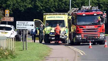 An ambulance was involved in a collision in Lynn Road, Wisbech. PHOTO: Ian Carter