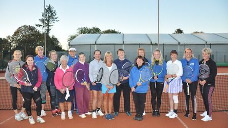 Wisbech Tennis Club: Charlotte Brett (fourth from the right), Wendy Cropp (third on the right). Pict