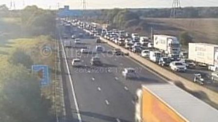 Traffic on the M25 at junction 23 anticlockwise by South Mimms and Barnet. Picture: www.motorwaycame