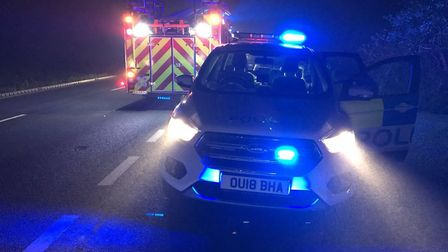Three vehicles collided on the A47 at Guyhirn this morning (October 19). Picture: TWITTER / @FENCOPS