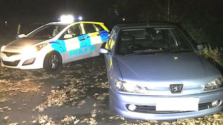 Uninsured driver speeds past officers before fleeing the scene in New Drove, Wisbech. Picture: FACEB