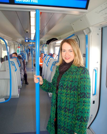 On board, Samantha Radford, from Gordon Hill, who travelled on the first passenger service from Moor