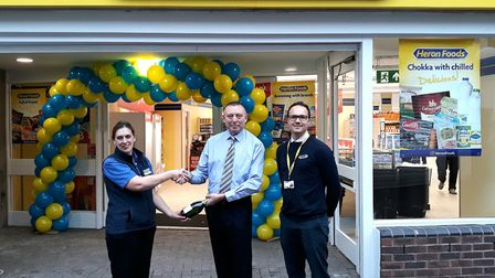 Kevin Smith welcomes Sarah Taylor, Heron Foods store manager, to the Horsefair Shopping Centre along