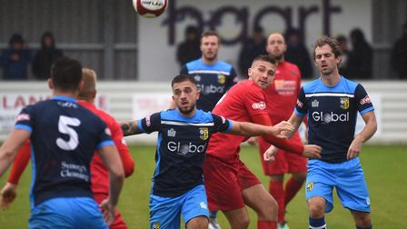Action from Wisbech Town's loss to Tadcaster Albion. Picture: IAN CARTER.