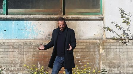 Danny Dyer during filming at the Shredded Wheat factory site. Picture: DANNY LOO