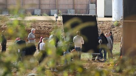 Danny Dyer (right) during filming on the Shredded Wheat factory site. Picture: DANNY LOO
