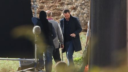 Danny Dyer (right) during filming at the Shredded Wheat factory site. Picture: DANNY LOO