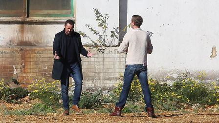 Danny Dyer (left) during filming at the Shredded Wheat factory site. Picture: DANNY LOO
