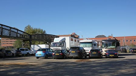 Production vehicles parked behind the Shredded Wheat factory for filming. Picture: DANNY LOO