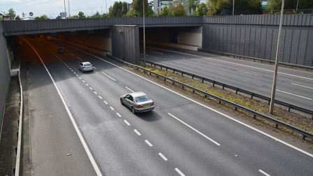 The A1(M) Hatfield Tunnel heading southbound